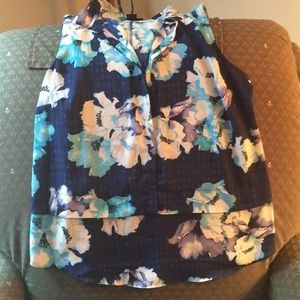 Blue tank blouse with flowers